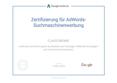 Google AdWords Certified Professional Zertifikat