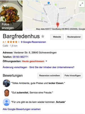 Google My Business Eintrag für Restaurants