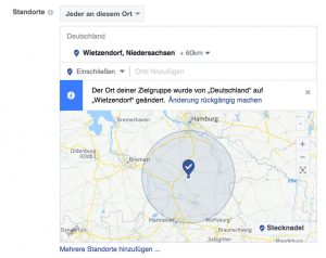 Umkreis Auswahl für Facebook Zielgruppen