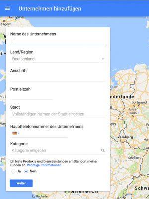 Google My Business Anmeldung