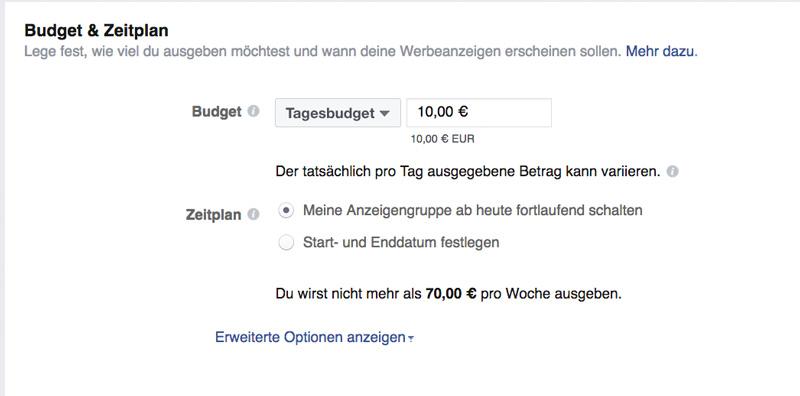 Facebook Anzeigen Kosten mit Tagesbudget