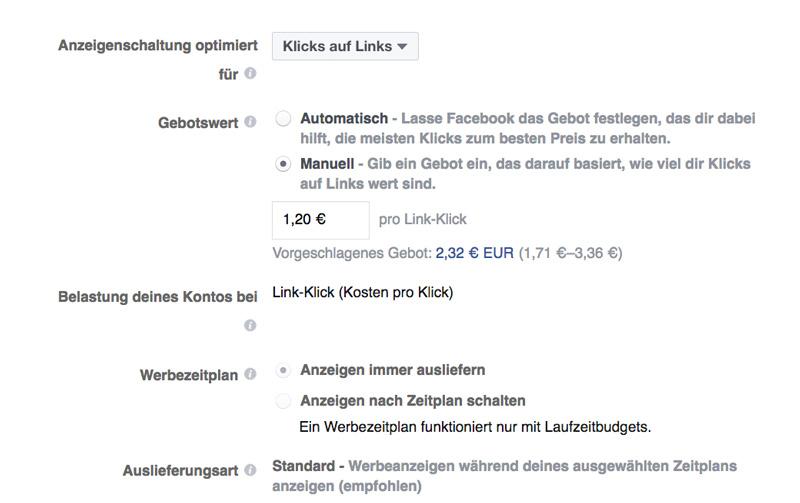 Facebook Anzeigen Kosten pro Klick