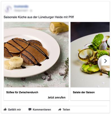 Restaurant Werbung mit Facebook Anzeige